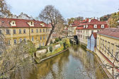 Prague canals, houses and trees — Stock Photo