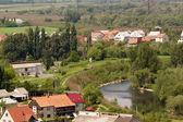 Houses by the river Latorytsa in Mukachevo — Foto de Stock