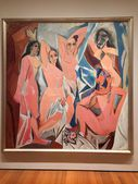 Famous painting by Pablo Picasso, Spanish artist in MoMA in New York, USA. Called - The young women of Avignon — Stock Photo