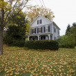 New England American home in Fall — Stock Photo