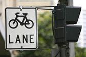 Bicicletas ciclo carril signo — Foto de Stock