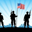 American Army with Flag — Stock Photo #11092924