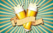 レトロなバック グラウンドでビール ガラス — ストックベクタ