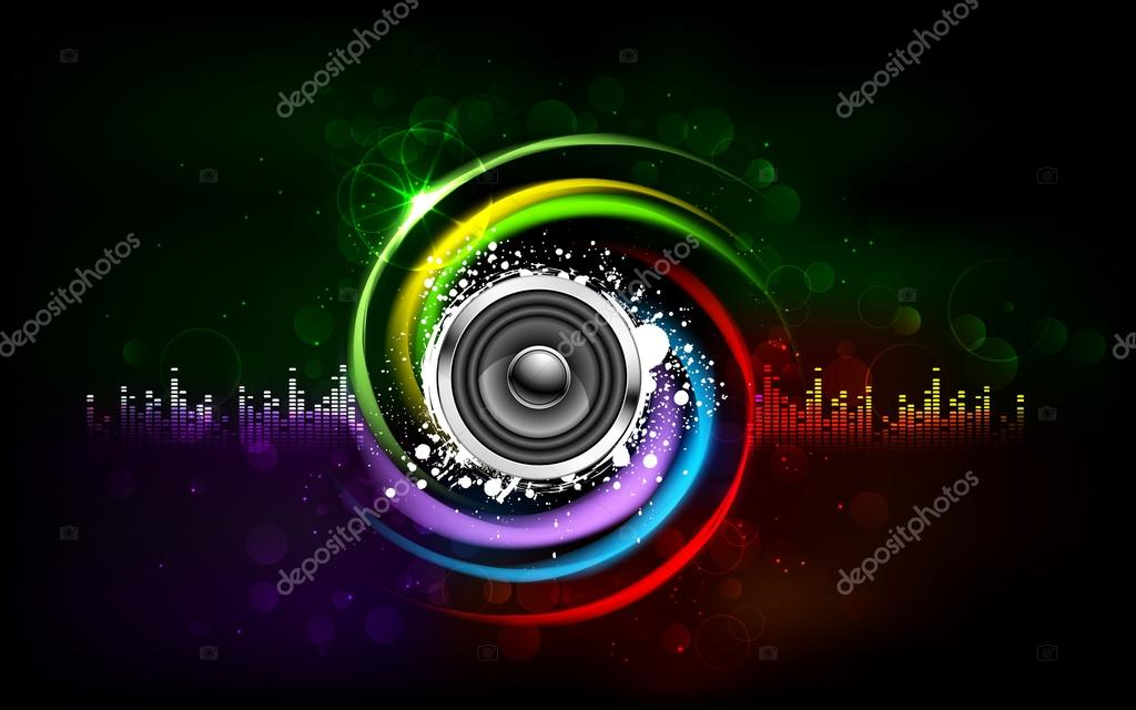 Illustration of loud speakers on abstract musical background — Stock Vector #12533562