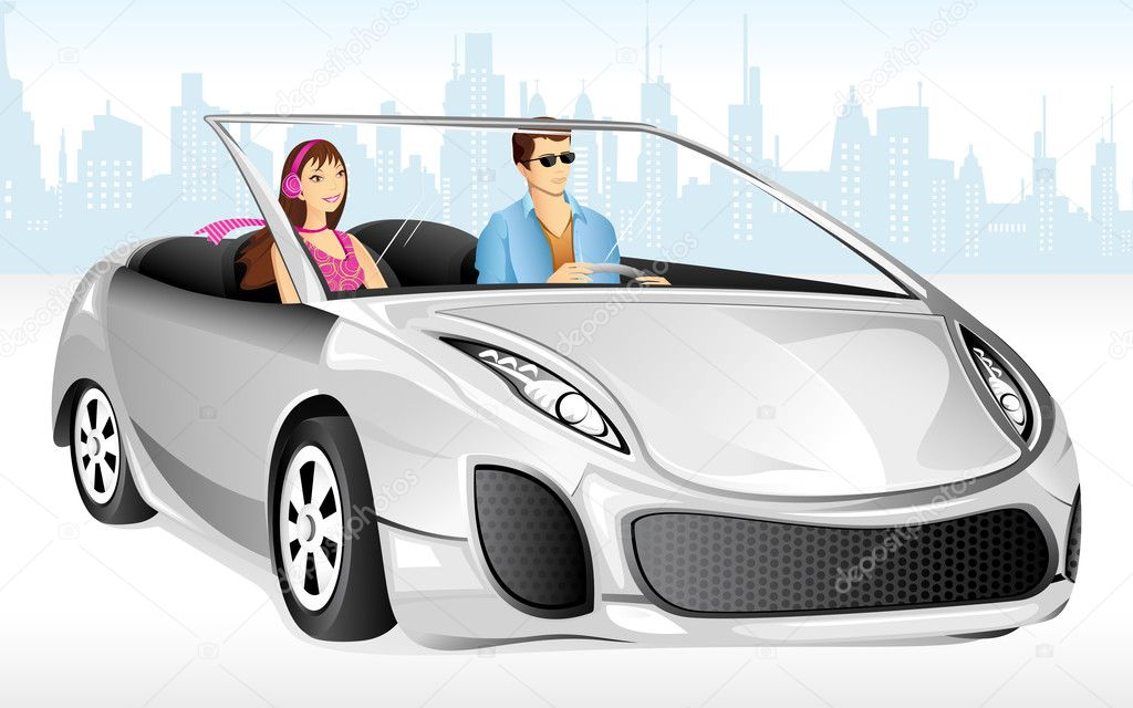 Illustration of couple enjoying long drive in car — Grafika wektorowa #12536839