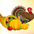 Thanksgiving Cornucopia with Turkey - Stock Vector