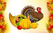 Thanksgiving Cornucopia with Turkey — Stock Vector