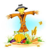 Scarecrow with Vegetable — Stock Vector
