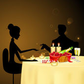 Couple taking Candle Light Dinner — Stock Vector