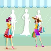 женщина, ходящая по магазинам — Cтоковый вектор
