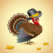 Turkiet med thanksgiving hatt — Stockvektor