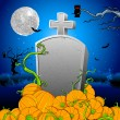 Pumpkin around Tomb Stone - Stock Vector
