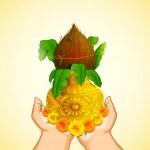 Hand holding Mangal Kalash — Stock Vector #13258206