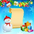 Snowman with Christmas Gift — Stockvektor