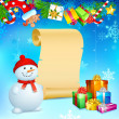 Royalty-Free Stock Vektorgrafik: Snowman with Christmas Gift
