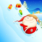 Sliding Santa — Stock Vector