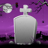 Tomb steen in halloween nacht — Stockvector