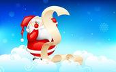Santa Claus reading wish list — Stock Vector