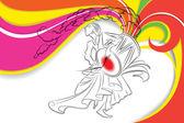 Durga puja davulcu — Stok Vektör