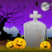 Pumpkin around Tomb Stone — Stockvector