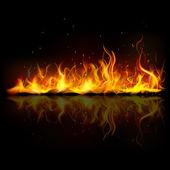 Brucia la fiamma del fuoco — Vettoriale Stock