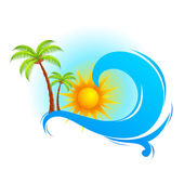 Sea Wave with Palm Tree — Stock Vector