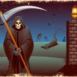 Stock Vector: Grim in Halloween night
