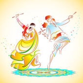 Couple playing Dandiya — Vector de stock