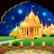 Temple in Diwali Night - Stock Vector