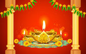 Diwali Diya — Stock Vector
