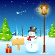 Snowman under Lamp post - Stock Vector