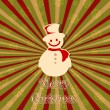 Snowman in Christmas card — Stock Vector