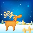 Royalty-Free Stock Vector Image: Reindeer in Christmas night
