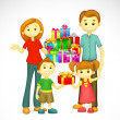 Royalty-Free Stock Vector: Family with Holiday Gift