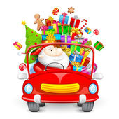 Santa Claus driving car with Christmas gifts — Stock Vector