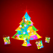 Colorful Christmas Tree and Gift — Stock Vector