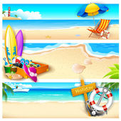 Holiday on Beach — Vector de stock