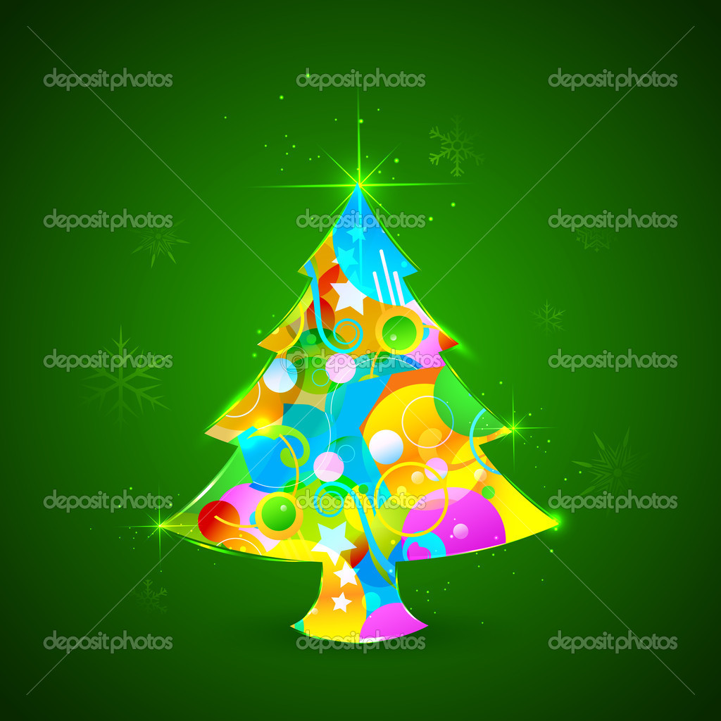 Illustration of colorful Christmas tree with sparkling snowflakes  Stock Vector #14166389
