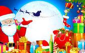 Jultomte med julklappar — Stockvektor