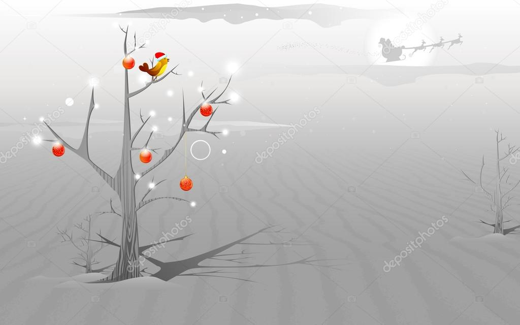 Illustration of love bird sitting on tree in Christmas night  Stock Vector #14487781