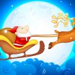 Santa in Sledge - Stock Vector