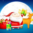 Santa with Gift for Christmas - Stock Vector