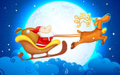 Santa in slee — Stockvector