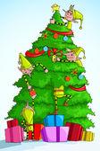 Elf decorating Christmas Tree — Stock Vector