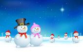Snowman in Christmas — Stock Vector