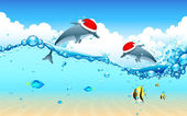 Dolphin celebrating Christmas — Stock Vector