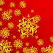 3d Snowflakes in Christmas background — Stock Vector