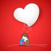 S'embrasser le couple sur fond d'amour — Vecteur