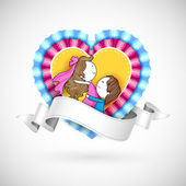 Loving Couple in Heart — Stock Vector