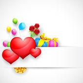 Kalp ve hediyeler ile arka seviyorum — Stok Vektör